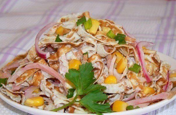 Салат из курицы и блинов из яиц рецепты с
